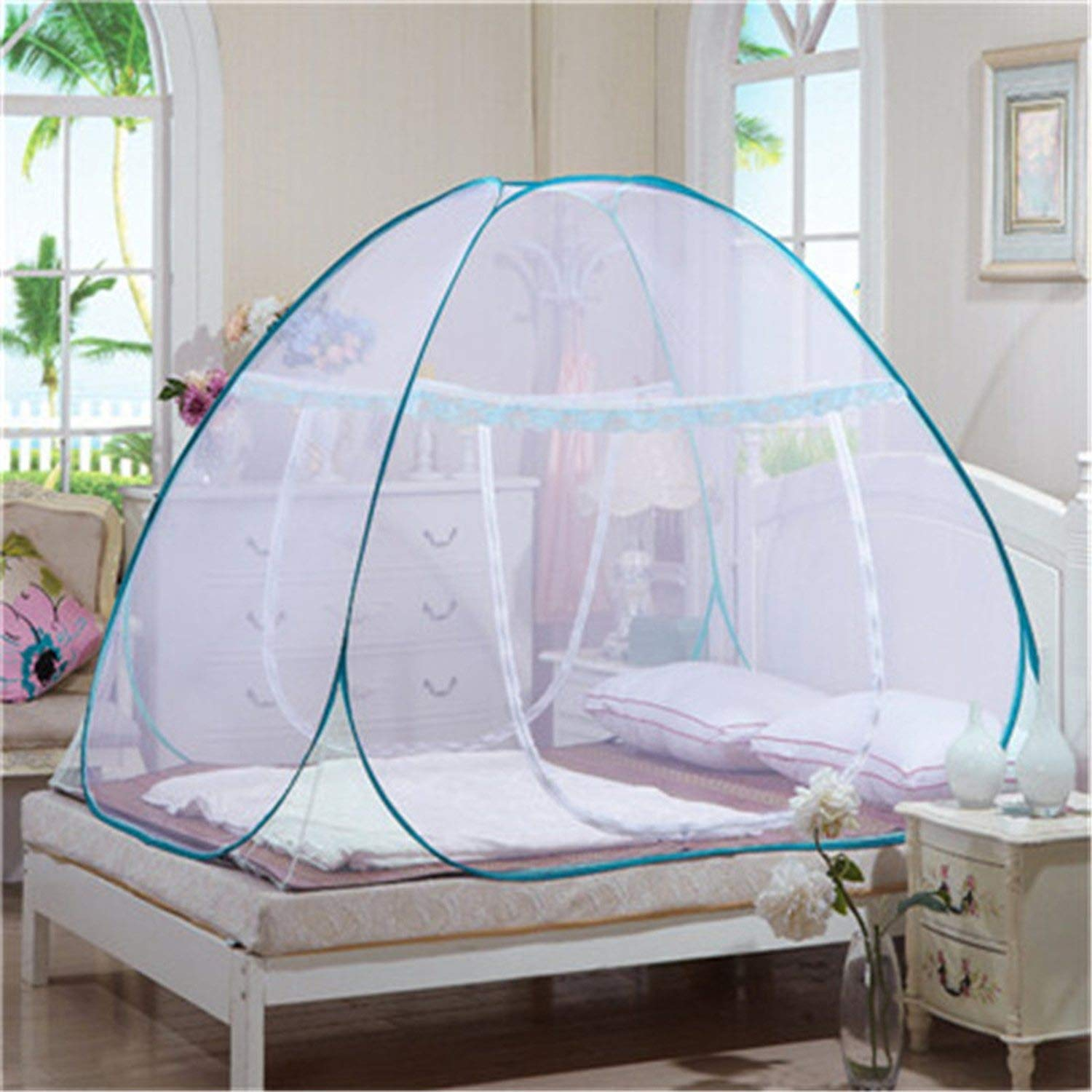 Mosquito Net for Bed Pink Blue Purple Student Bunk Bed Net Mesh Adult Double Bed Netting Tent Mosquito,D by Try My Best Mosquito Net (Image #4)