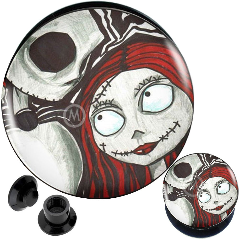 00 gauges Nightmare Before Christmas Jack Sally Ear Plugs Steel Flesh Tunnels Double Flare Expander Stretcher Taper Merry Christmas X'Mas 00g 10mm by MoDTanOiz - Acrylic logo box flesh tunnels (Image #1)