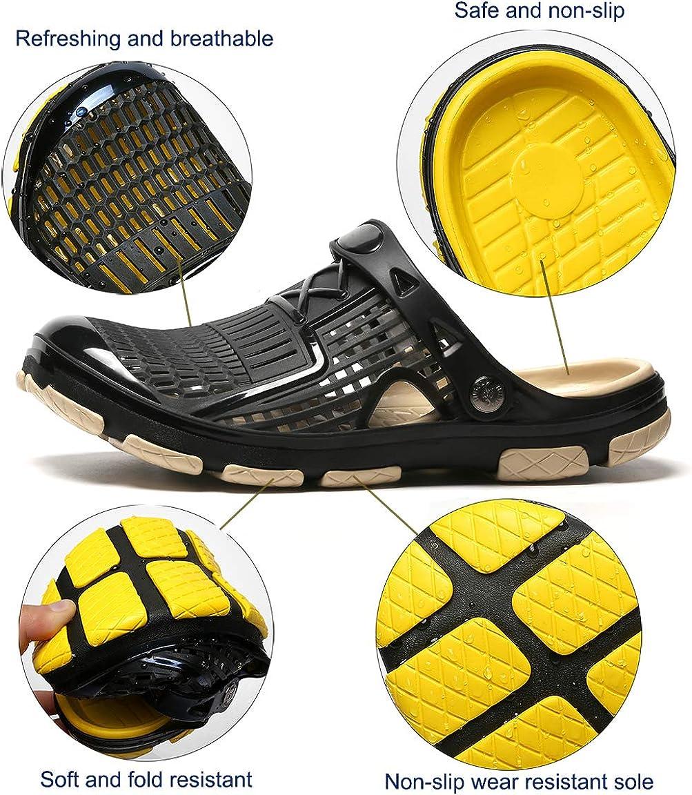Zuecos para Hombre Respirable Zapatillas de Playa Ahueca hacia Fuera Las Sandalias Antideslizante Piscina Sanitarios Enfermera Goma Verano Zapatillas de Trabajo Sandalias 40-45 EU