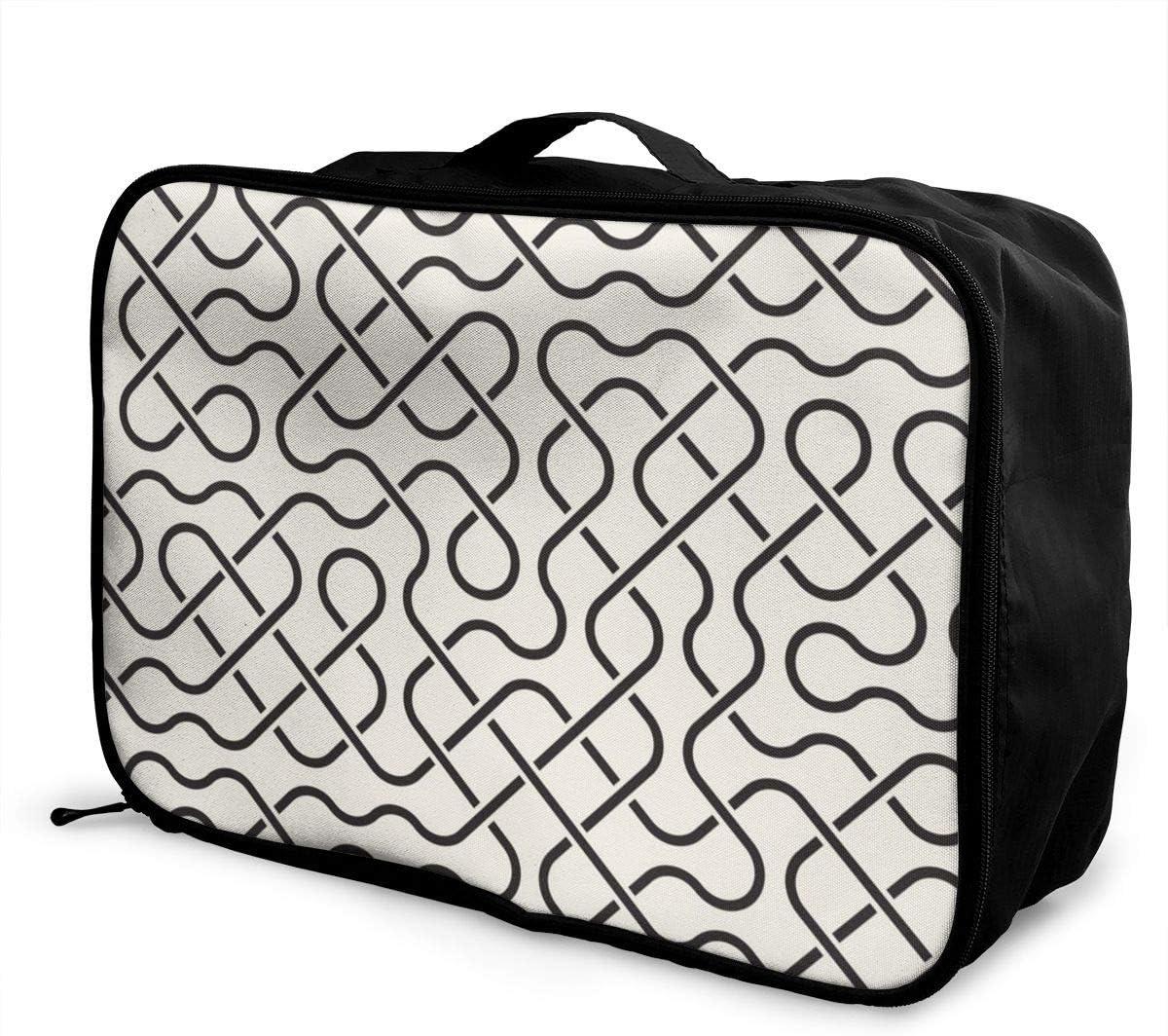 Yunshm Line Mesh Geometric Patterns Customized Trolley Handbag Waterproof Unisex Large Capacity For Business Travel Storage