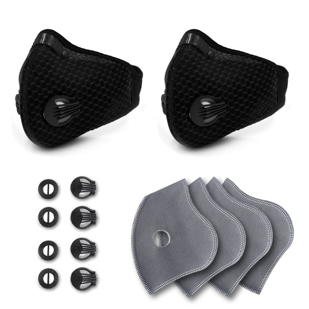 Activated Carbon Dustproof Dust Mask - with Extra 4 Filter Cotton Sheet and 4 Valves for Exhaust Gas, Pollen Allergy, PM2.5, Running, Cycling, Outdoor Activities