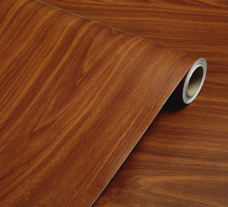 WDragon - Papel de Contacto Autoadhesivo de PVC, Color marrón Oscuro, para mostrador de Granos de Madera, Muebles, armarios, estantes, Forro, Papel Pintado, 40 cm x 250 cm