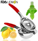 Lemon Squeezer big Capacity Stainless Steel Silicone Handle Fruit Juicers, Manual Sprayer Citrus Press Walnut Clip Garlic Extractor