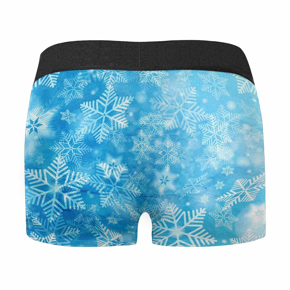 INTERESTPRINT Mens All-Over Print Boxer Briefs Watercolor Bright Christmas Background with Snowflakes XS-3XL
