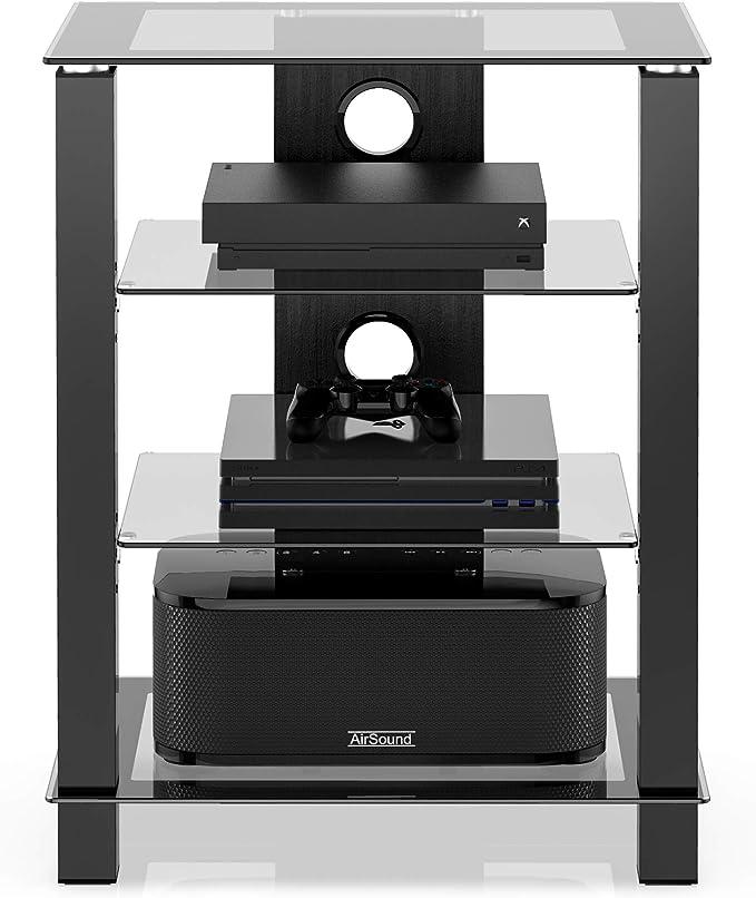 FITUEYES Mueble HiFi con 4 Estante de Vidrio Templado Soporte para Equipo de Música Gestión de Cables: Amazon.es: Electrónica