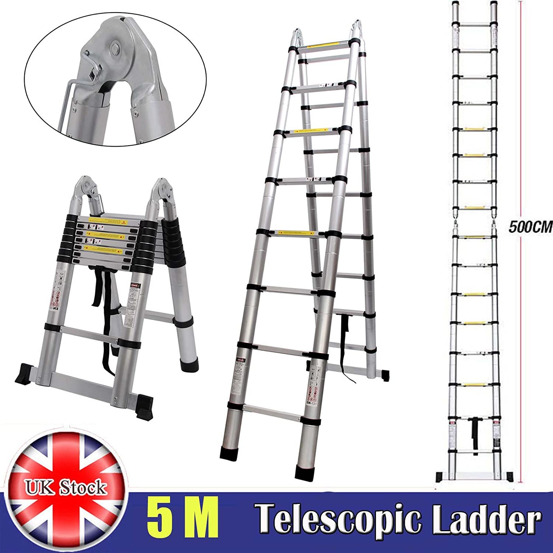 Escalera telescópica plegable Autofaad, 5 m, 2,5 m más 2,5 m, escalera portátil con bisagras, capacidad máxima de carga de 150 kg con pies de goma antideslizantes, compacta y resistente: Amazon.es: Coche y moto