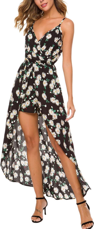 Kormei Womens Sleeveless V Neck Floral Rayon Party Split Maxi Romper Dress