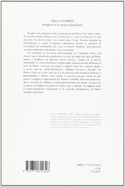 Porphyre et le moyen-platonisme (Histoire Des Doctrines De Lantiquite Classique) (French Edition)