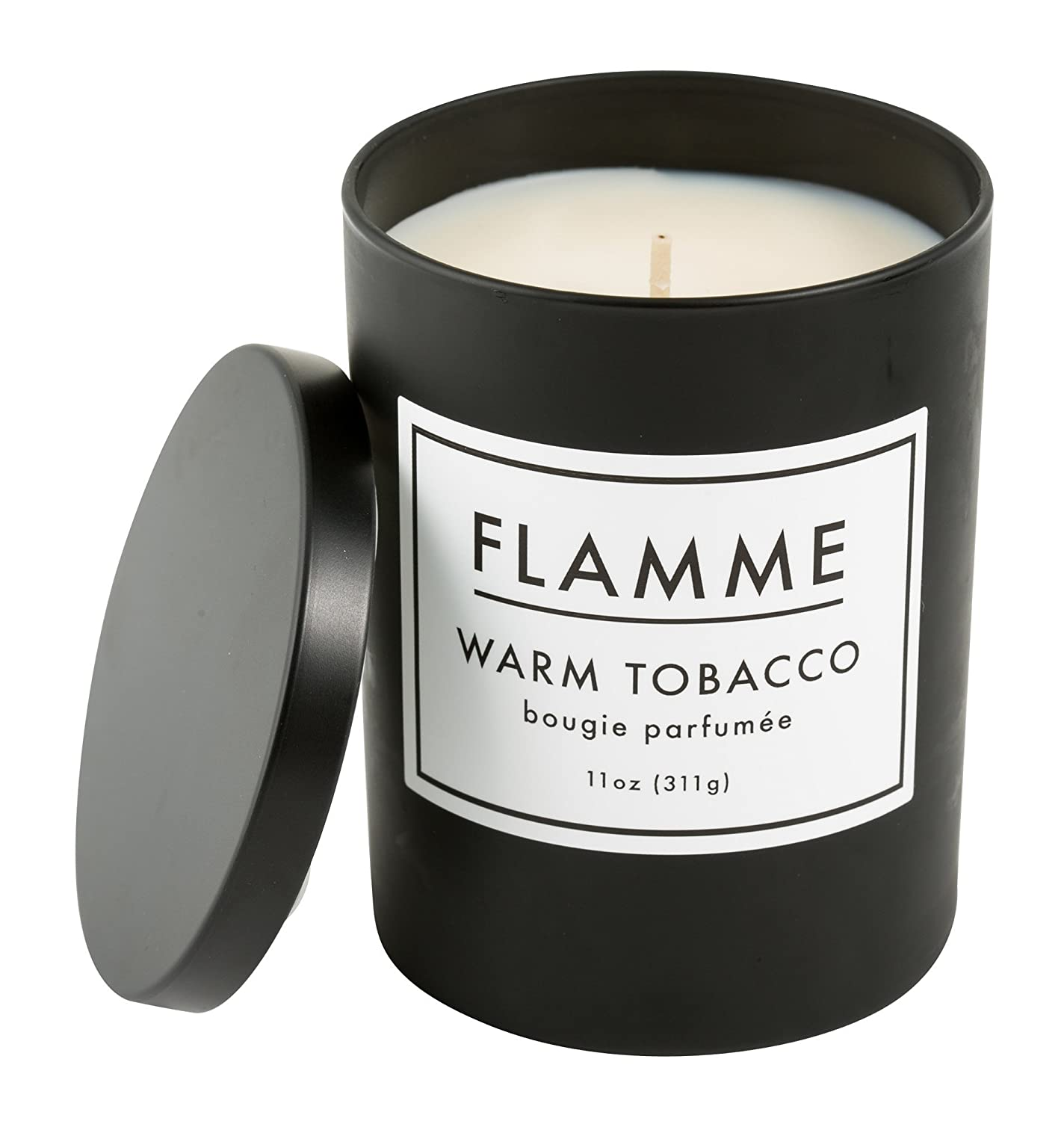 Flamme Candle Co. Signature Collection Warm Tobacco Candle, Natural Soy 11 Ounce Candle in Black Matte Jar Made in the USA (Tobacco Scented Candle)