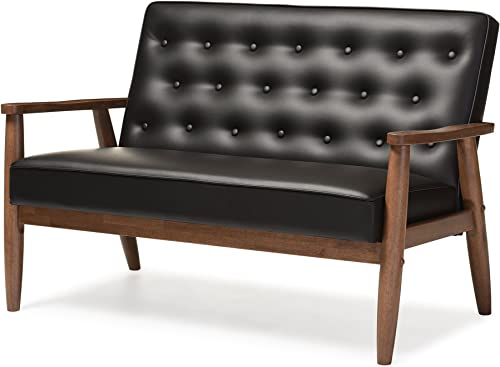 Baxton Studio Sorrento Mid-Century Retro Modern Faux Leather Upholstered Wooden 2-Seater Loveseat