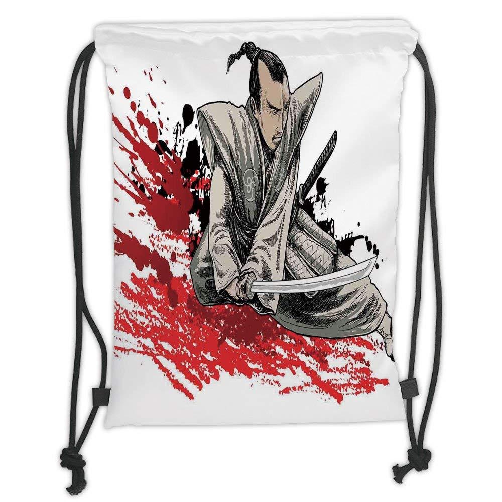 Fevthmii Drawstring Backpacks Bags,Japanese,Warrior Holding ...