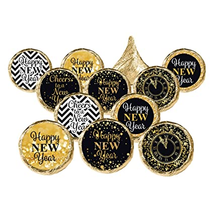 distinctivs new years eve party favor decorations black and gold stickers 324 count