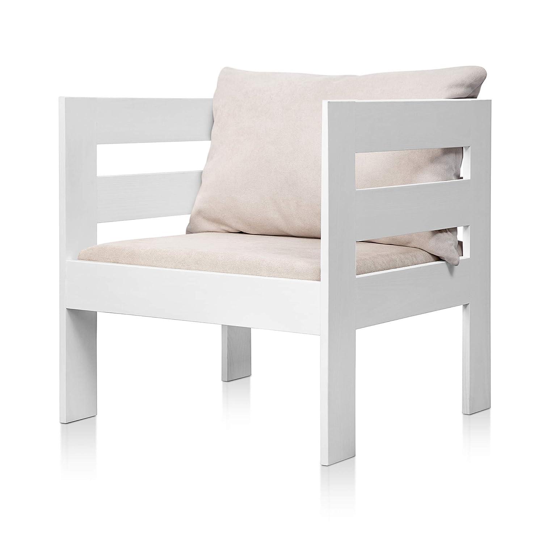 SUENOSZZZ - Sofa Jardin de Madera de Pino Color Blanco, MEDITERRANEO Mod. sillón, Sillon cojín Tela Color Beige. Muebles Jardin Exterior. Silla para ...