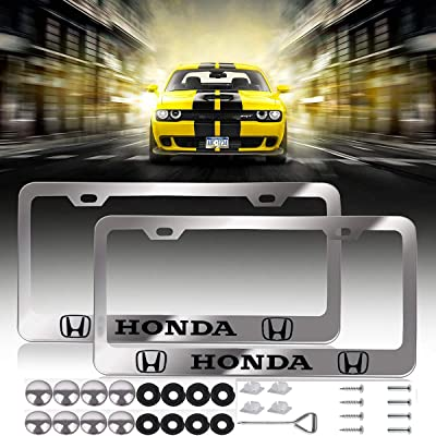 2 Pcs Newest Honda Logo Bling Frosted Silver Aluminum Alloy License Plate Frame,with Screw Caps Cover Set Suit,Applicable to US Standard car License Frame, for Honda.(Silver): Automotive