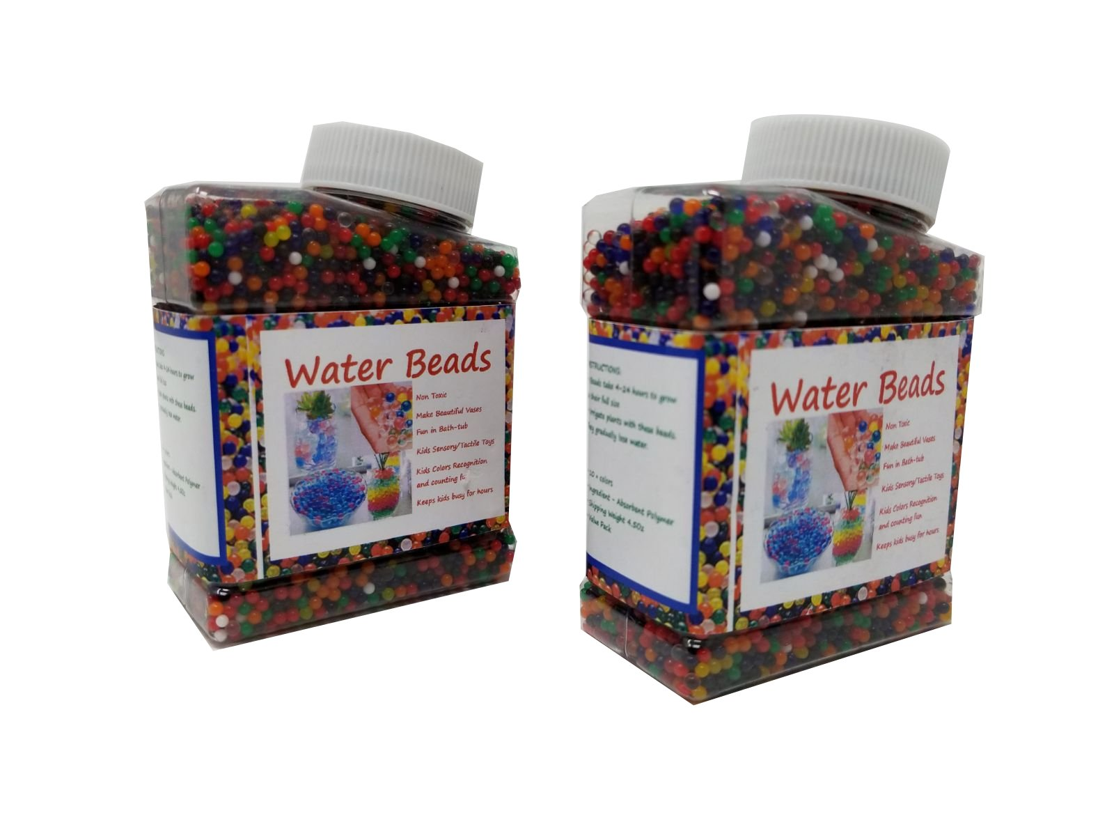 Water Beads Pack (30000 Medium size beads) Rainbow Mix Jelly Water Growing Balls for Kids Tactile Sensory Toys, Vases, Plants, Wedding and Home Decoration (2 bottles)
