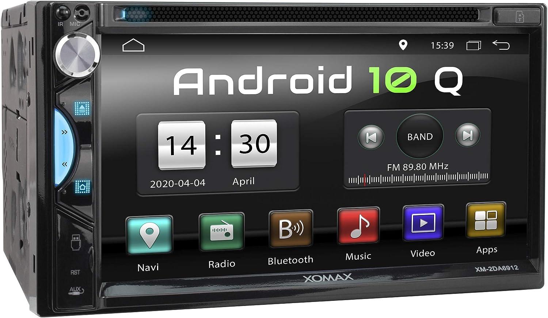 XOMAX XM-2DA6912 Radio de Coche con Android 10 I Quad Core, 2GB RAM, 32GB ROM I GPS I Soporte WiFi, 3G, 4G, Dab+, OBD2 I Bluetooth I 6,9