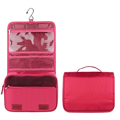 Arvok Hanging Toiletry Bag with Metal Hook Portable Travel Makeup Shower Bath Kits Storage Organizer Cosmetic Pouch Case with Metal Hanging Hook for Women and Men Outdoor Activities, Rose Red