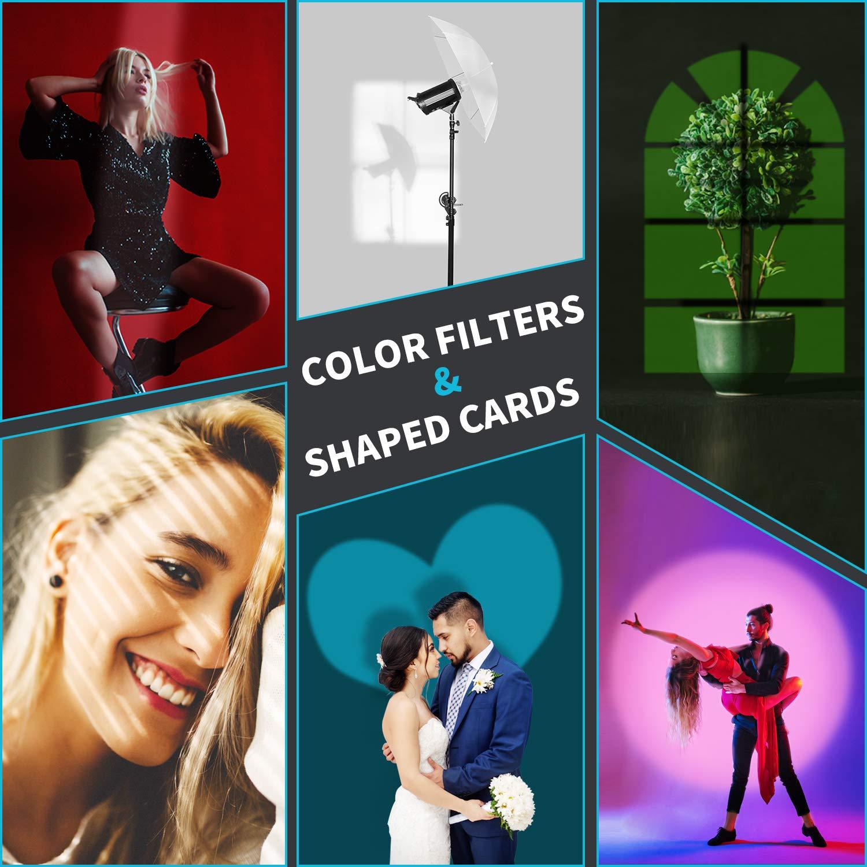 Neewer Snoot C/ónico Aleaci/ón Aluminio para Estudio con Bowens Montura para Monoluz Fotograf/ía LED Luz SL-60W 150W 200W Incluye 5 Filtros Color 9 Tarjetas Gr/áficas para Efecto Foco