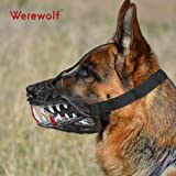 Wrewolf Dog Muzzle WEREWOLF Unique Design with Adjustable Metal Buckle and Unti-biting & Chewing for Small Medium and Large Dogs-Smile & Sharp