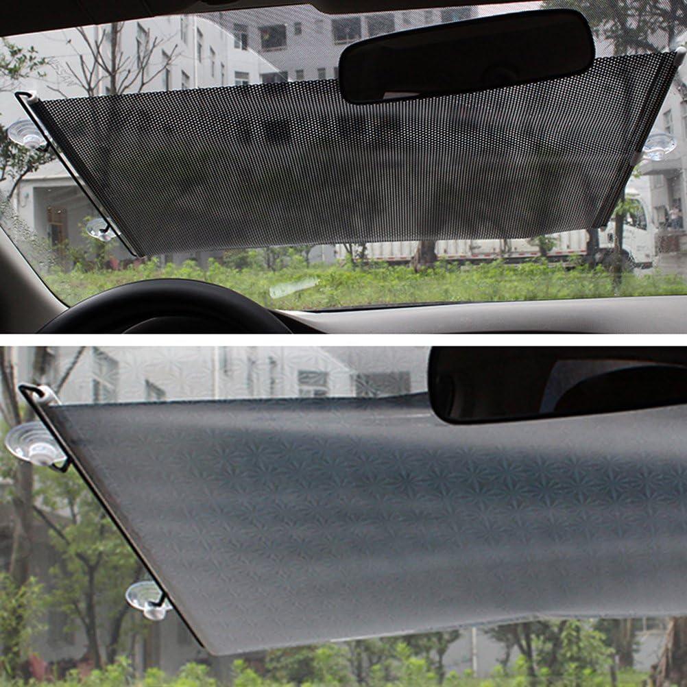 Color Negro Parasol retr/áctil para Parabrisas Delantero y Trasero de Coche ENCOCO