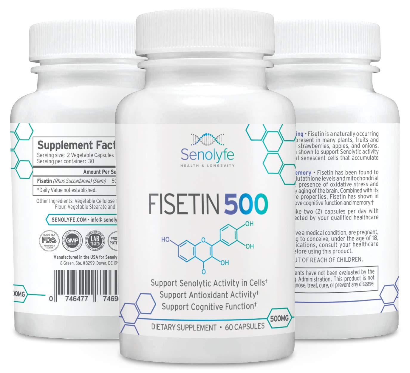 Fisetin 500 | 500mg 98% Pure Fisetin - Natural Senolytic Compound & Longevity Support by Senolyfe