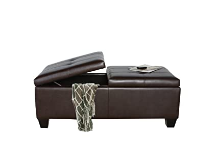 Superbe Best Selling Alfred Brown Bonded Leather Storage Ottoman