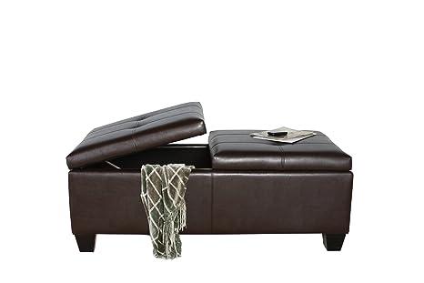 Amazing Best Selling Alfred Brown Bonded Leather Storage Ottoman Customarchery Wood Chair Design Ideas Customarcherynet