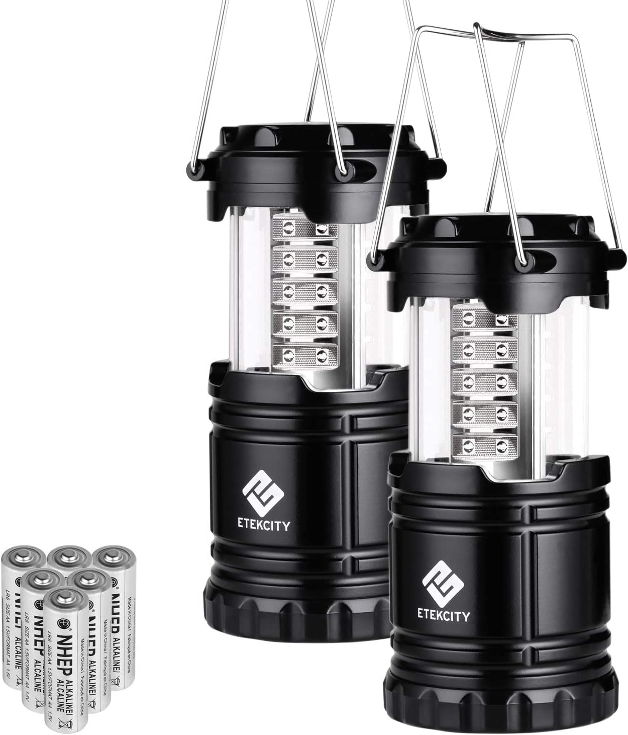 Etekcity LED Camping Lantern Portable Flashlight with AA Batteries – Survival Kit for Emergency, Hurricane, Power Outage, CL10 Black, Collapsible 2 Pack
