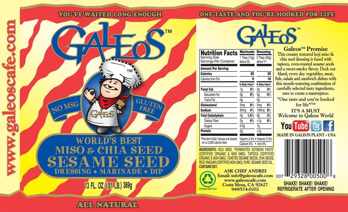 Galeos Miso Sesame Dressing, 13 Oz (Pack of 6) by GALEOS (Image #2)