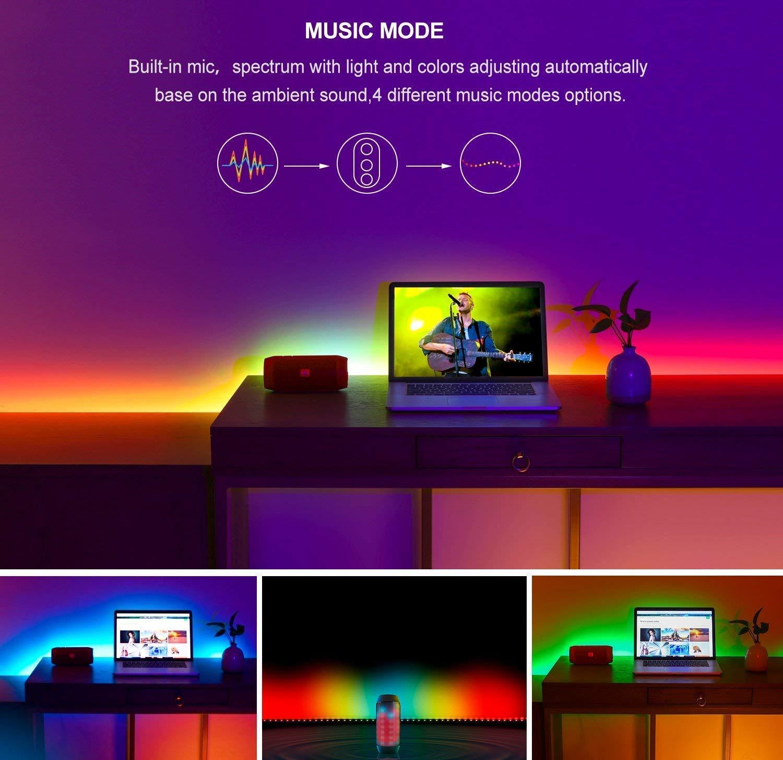 DreamColor Bande lumineuse à LED avec APP, MINGER 3M Musique LED TV Rétroéclairage USB derrière TV LED pour éclairage de bias de la télévision HDTV