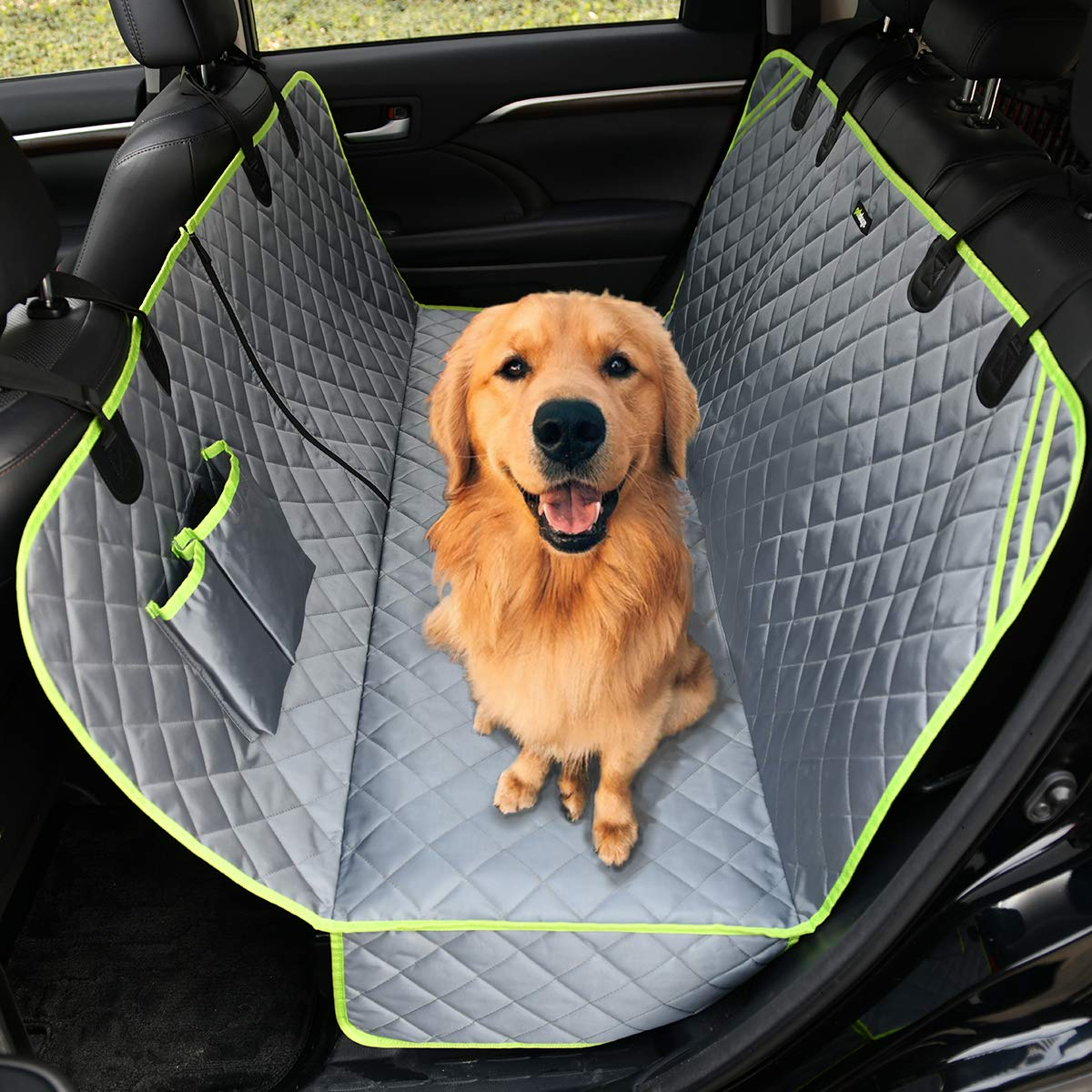 petalage Dog Car Seat Cover Gray Backseats Cover Hammock for Dogs 100 Waterproof Nonslip Durable Soft Pet Seat Cover for Cars Trucks and SUVs with Pet Seat Belt HYSC3A