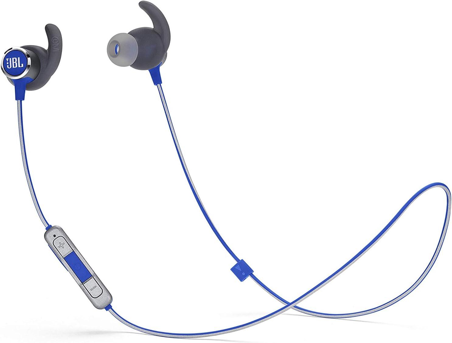JBL Reflect Mini 2 Sport – Auriculares deportivos con Bluetooth y cancelación de ruido, cascos inalámbricos resistentes al agua (IPX5), hasta 10 h de música, azul