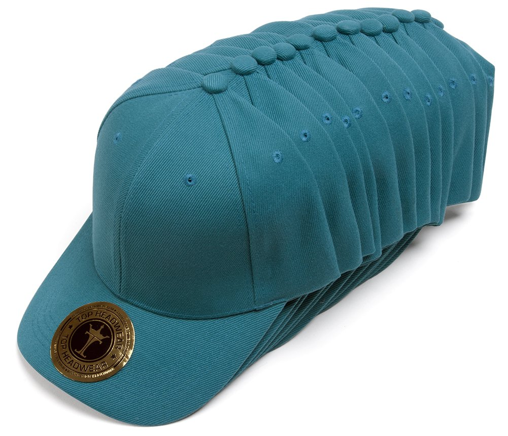 TopHeadwear 12-Pack Adjustable Baseball Hat - Teal