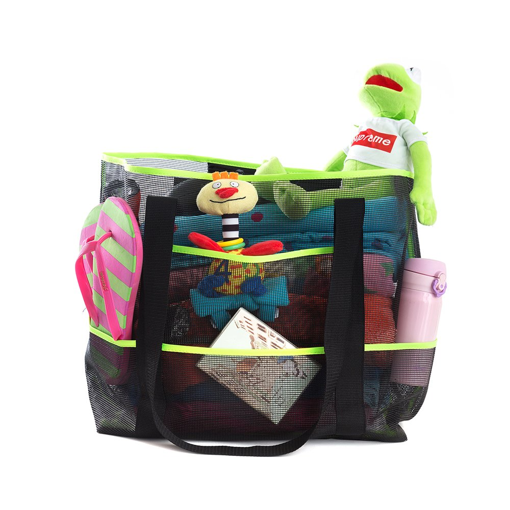 Extra Large Mesh Beach Tote Bag. See Through For Quick Dry of Items Inside. Black with Stylish Lime Trim. Lots of Pockets for Supplies, Snacks. Great for Toys, Diapers, Towels, Swimsuits