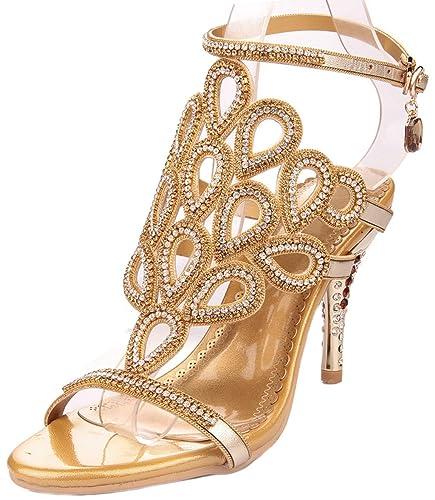 c55aaf6377de3f Littleboutique Phoenix Cutout Rhinestone Studs Evening Sandal Party Dress  Sandal Heels for Women Gold 3