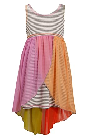 c9956fb8ad1c Big-Girls Tween 7-16 Grey Multi Stripe Knit to Colorblock Chiffon High