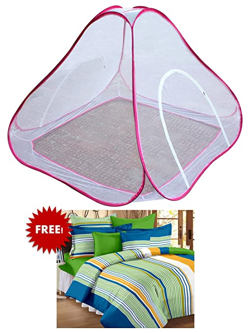 Bedspun Double Bed Pink mosquito net double bed Free Double Size 100 % Cotton Stripes Bedsheets with 2 Pillow Covers, Multicolor