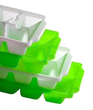 4 Pack Basic Ice Cube bandejas - dos cada uno de color verde lima y limpio blanco - fácilmente apilable: Amazon.es: Hogar