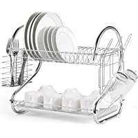 Dish Drying Rack, Upgrades 2 Tier Dish Rack with Drain Board for Kitchen Counter, Plated Chrome Dish Dryer Silver 16.5 x…