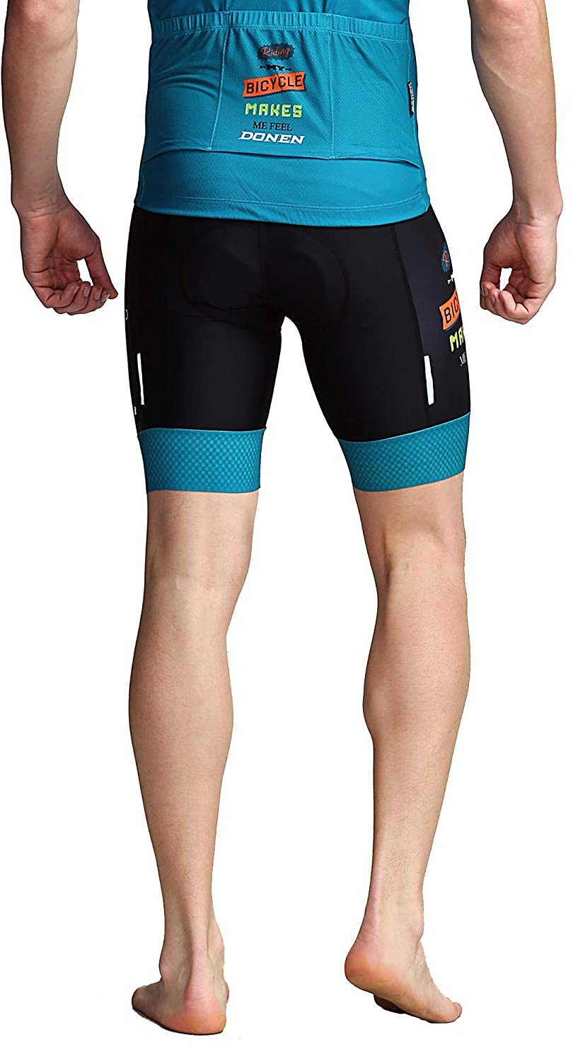 DONEN Mens Cycling Bib Shorts 3D Padded Tights Set with Breathable Short Sleeve Bike Jersey