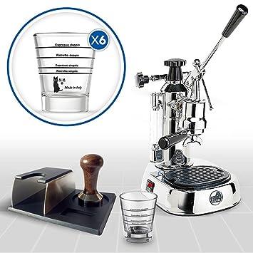 LaGondola Bundle – Máquina Caffe Espresso cromado la Pavoni Europiccola Prensa de metal Motta Soporte