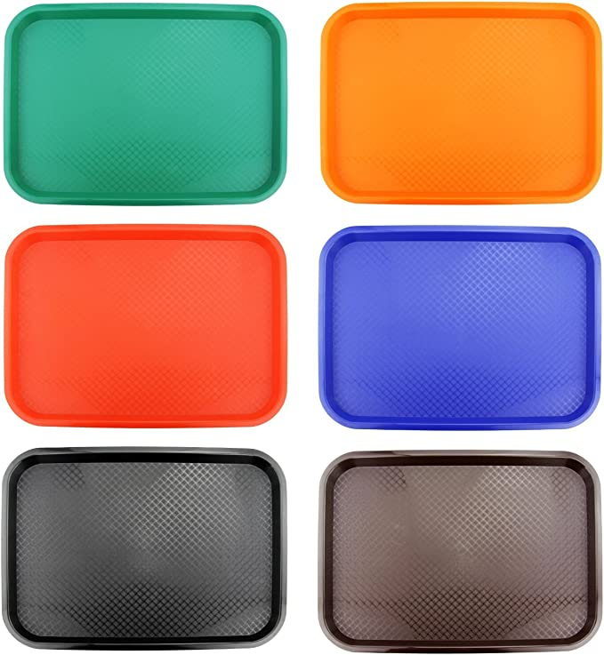 Serving Trays Orange Plastic Fast Food Tray 14 By 18-Inch, Set of 6