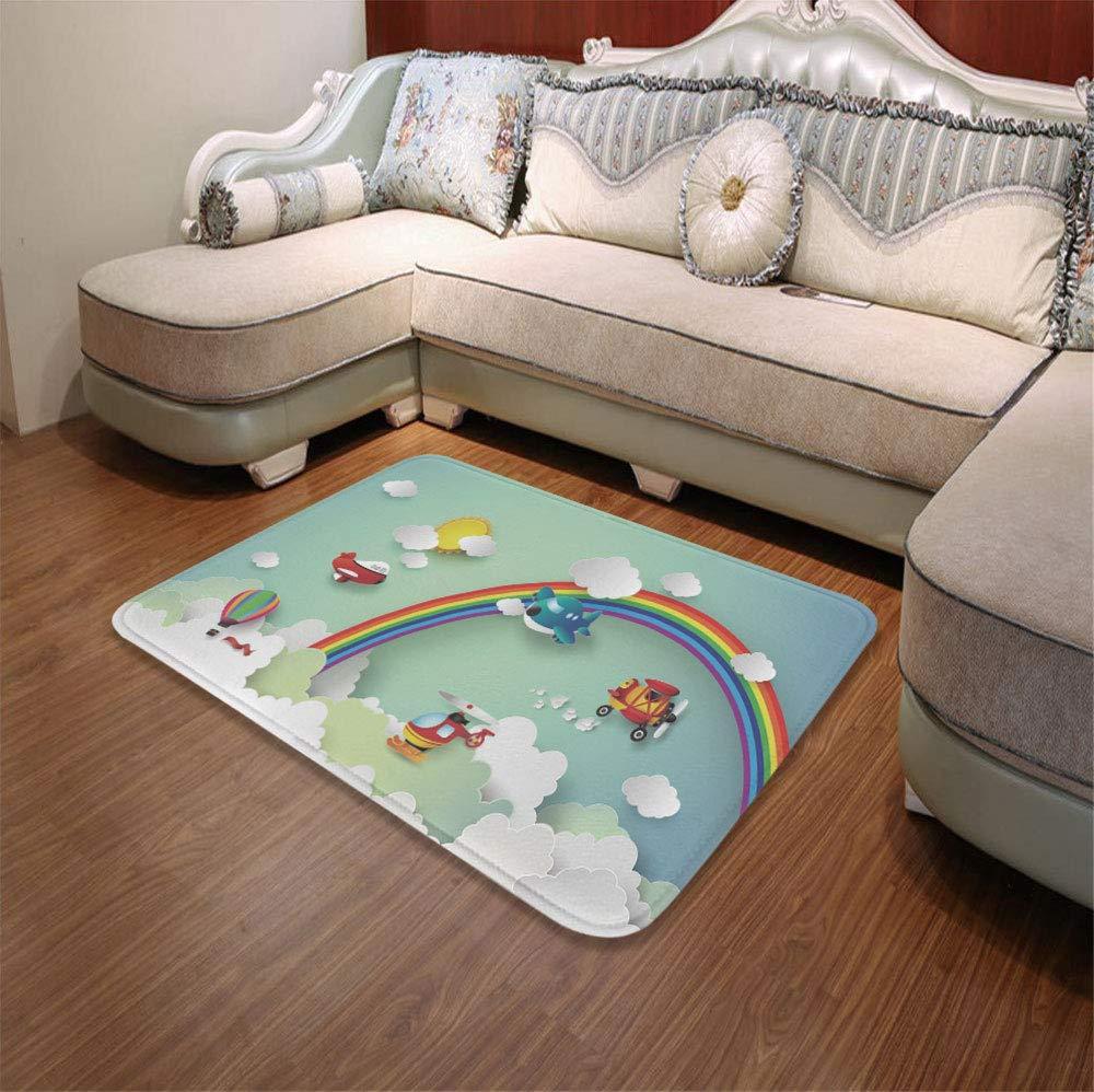 YOLIYANA Modern Carpet,Children,for Living Room Bathroom,55.12'' x78.74'',Plane Hot Air Balloon Helicopter Flying