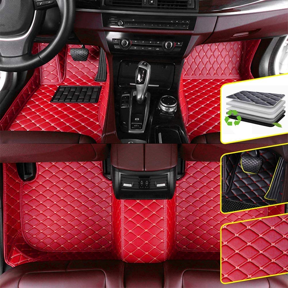 DBL Custom Car Floor Mats for BMW X3 F25 2011-2017 Waterproof Non-Slip Leather Carpets Automotive Interior Accessories 1 Set Red