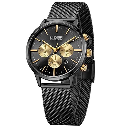 9ddb5d3fc6e Megir Ladies Chronograph Date Indicator Fashion Stainless Steel Quartz Wrist  Watches for Women Black and Gold  Amazon.co.uk  Watches