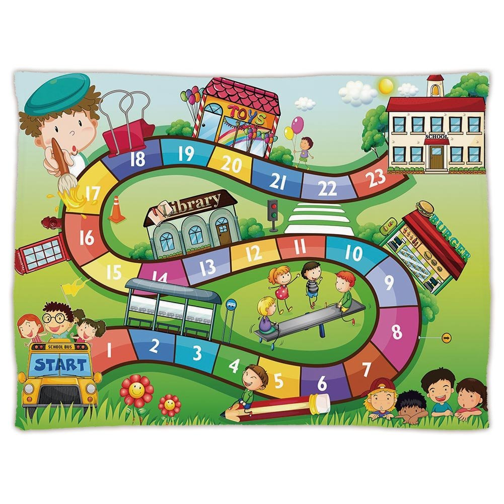 Super Soft Throw Blanket Custom Design Cozy Fleece Blanket,Board Game,School Kids on Bus Playing in Garden Educational Games Library Toys Icons Print Decorative,Multicolor,Perfect for Couch Sofa or Be