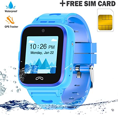 Kids Smartwatch Phone 4G with Sim Card, Anti-Lost WiFi LBS GPS Tracker Game Watch Waterproof for Children with Pedometer/Remote ...