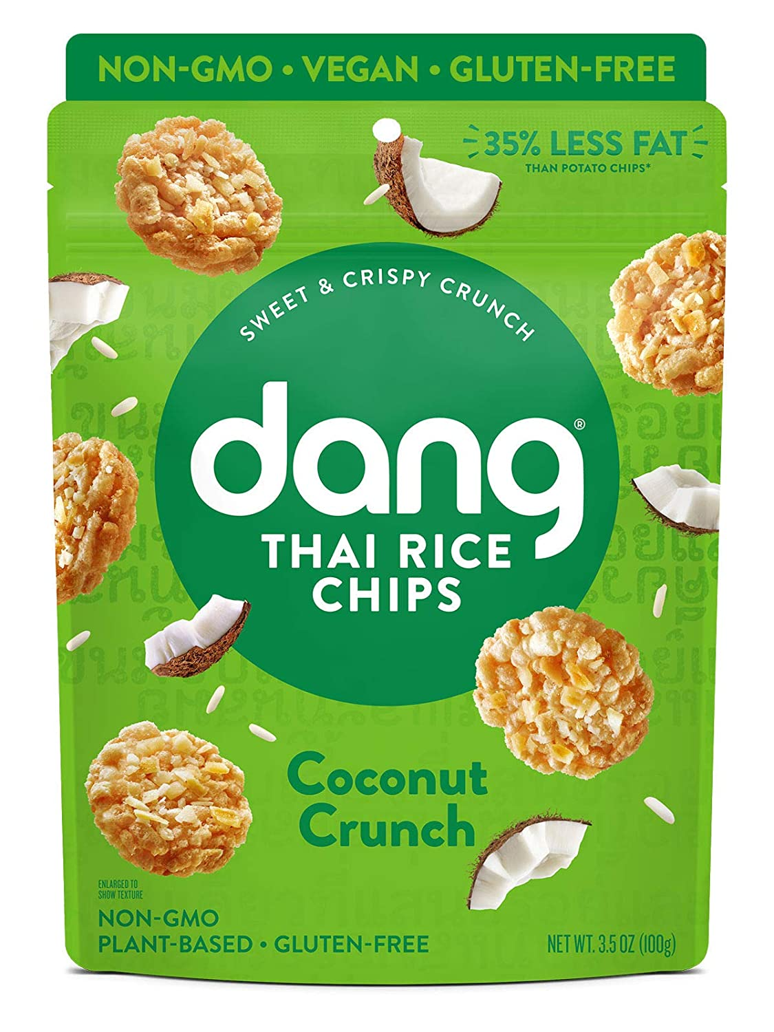 DANG Sticky Rice Chips   Coconut Crunch   4 Pack   Vegan, Gluten Free, Non Gmo Rice Crisps, Healthy Snacks Made With Whole Foods   3.5 Oz Bags