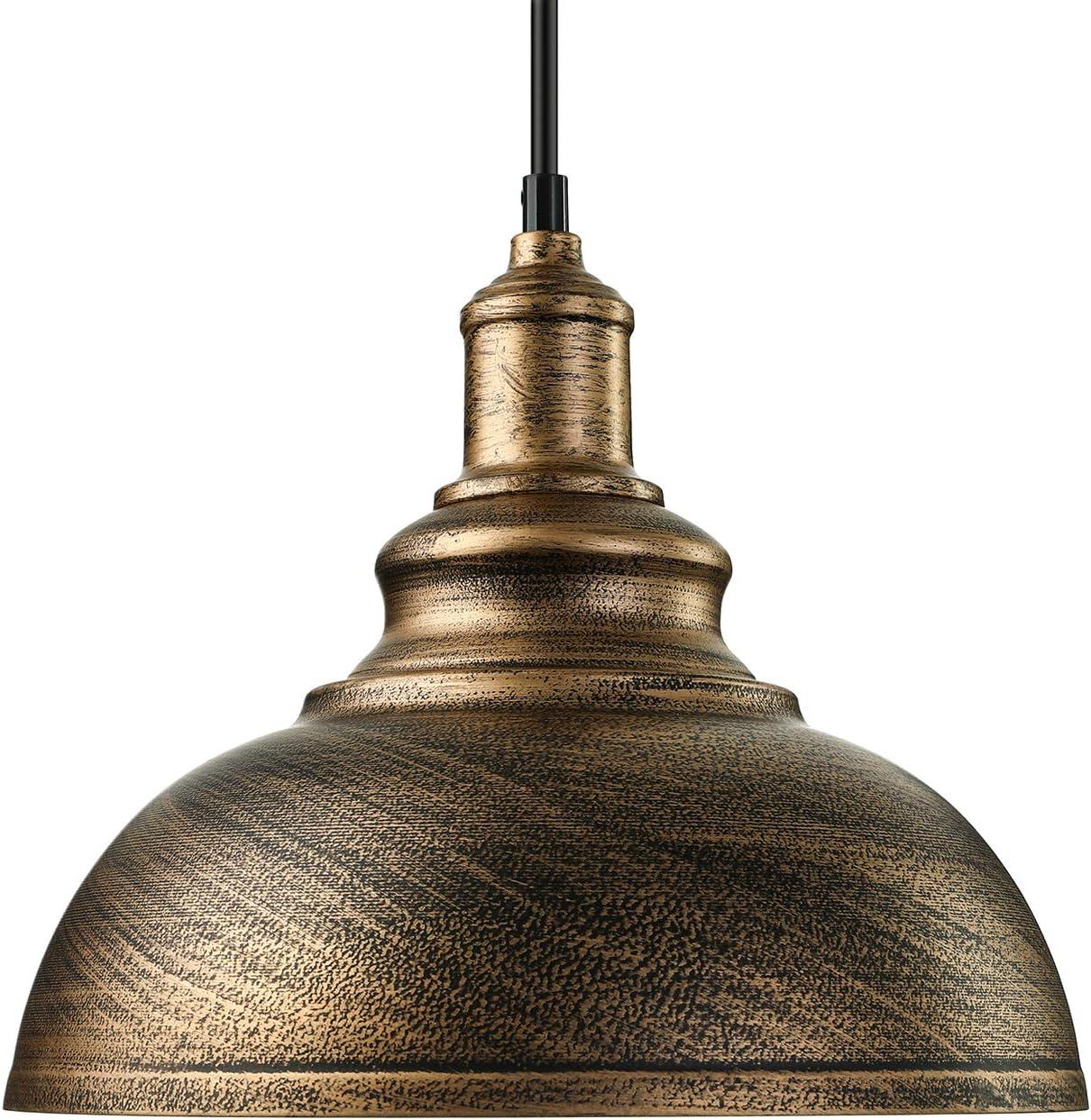 Baycheer Plafón colgante, lámpara industrial vintage, lámpara de pantalla, E27,Diámetro 30cm, altura regulable, Kupferbraun, E27 40.00 wattsW 110.00 voltsV