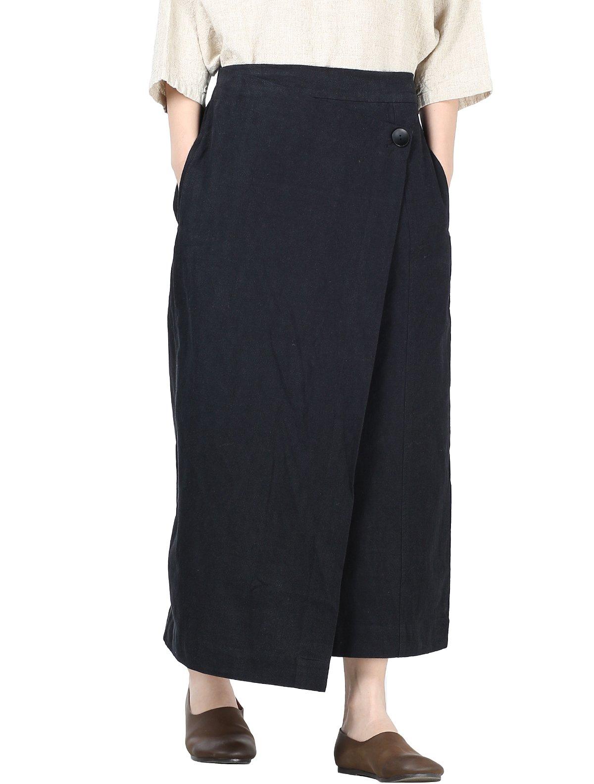 Mordenmiss Women's Linen Slit Flared High Waist Skirts Pants Black